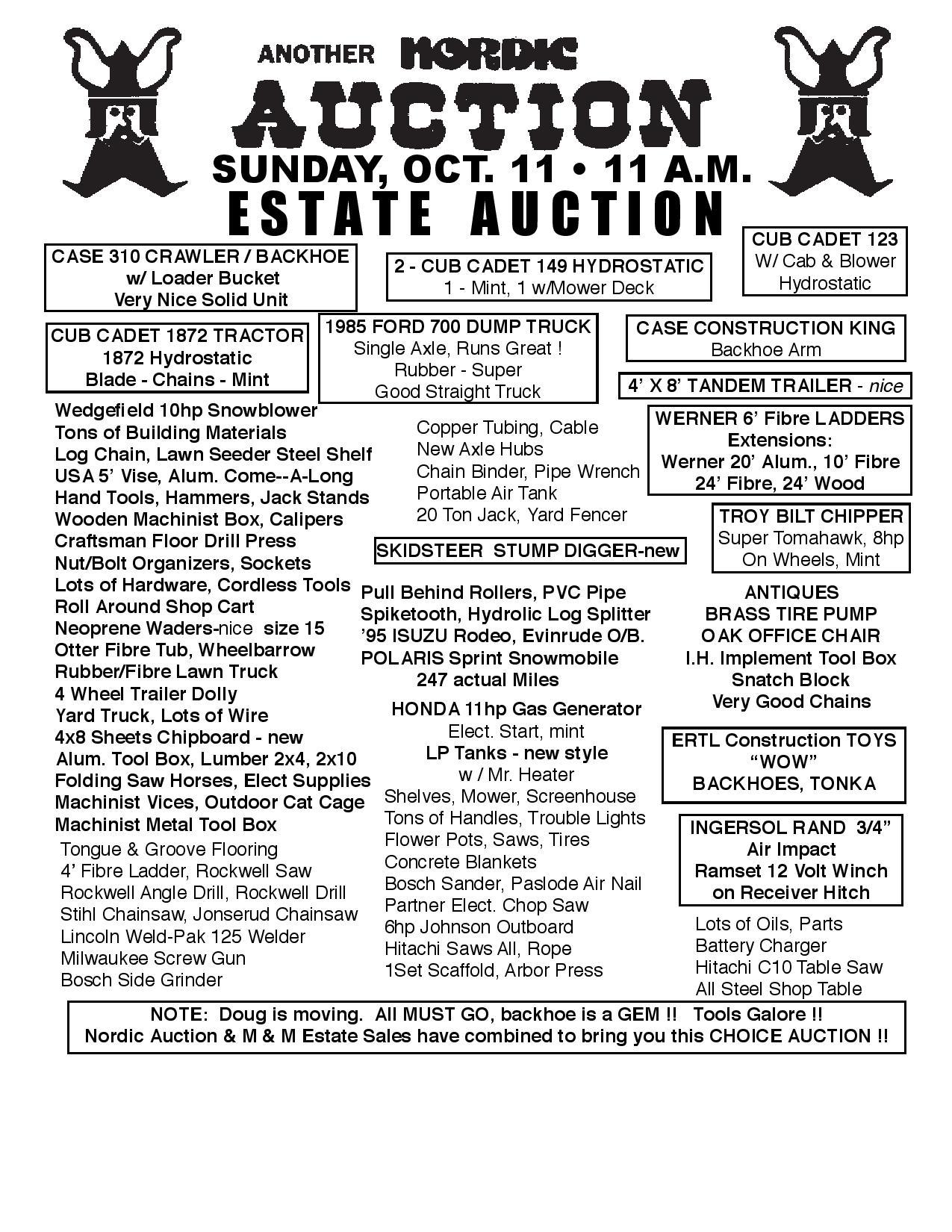 HUGE Auction (Sun. Oct. 11) Owner Doug Berg @ Duluth | Minnesota | United States