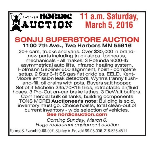 Sonju Superstore Auction Mar 5 Two Harbors