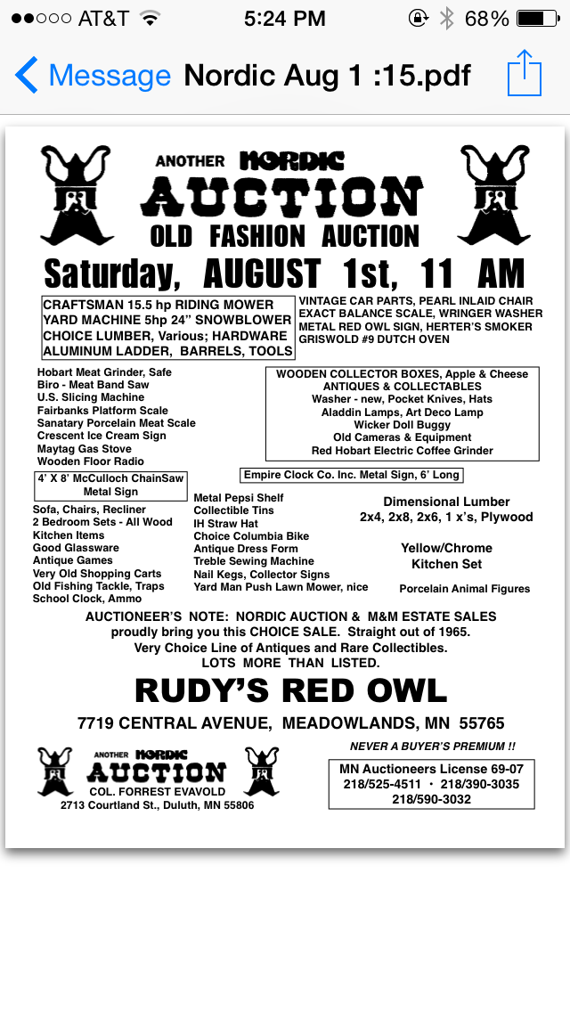 Rudy's Red Owl (Aug 1) Meadowlands, MN @ Ruby's Red Owl   Meadowlands   Minnesota   United States