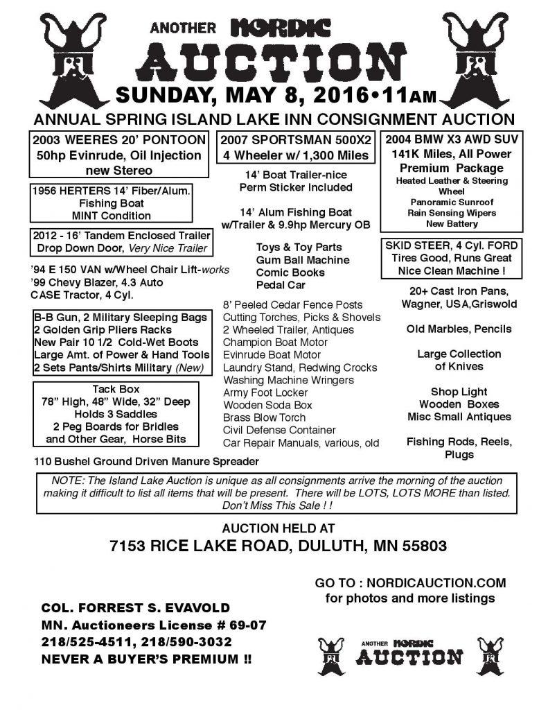 Annual SPRING Island Lake Auction (May 8) @ 11:00 a.m. @ Island Lake Inn  | Duluth | Minnesota | United States