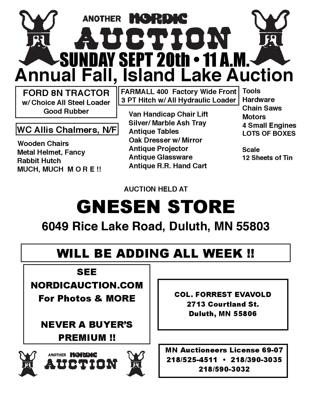 annual fall island lake auction  sept  20    11 00 a m
