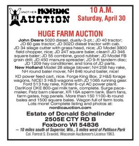 HUGE FARM EQUIPMENT AUCTION, (Apr 30) Foxboro, WI