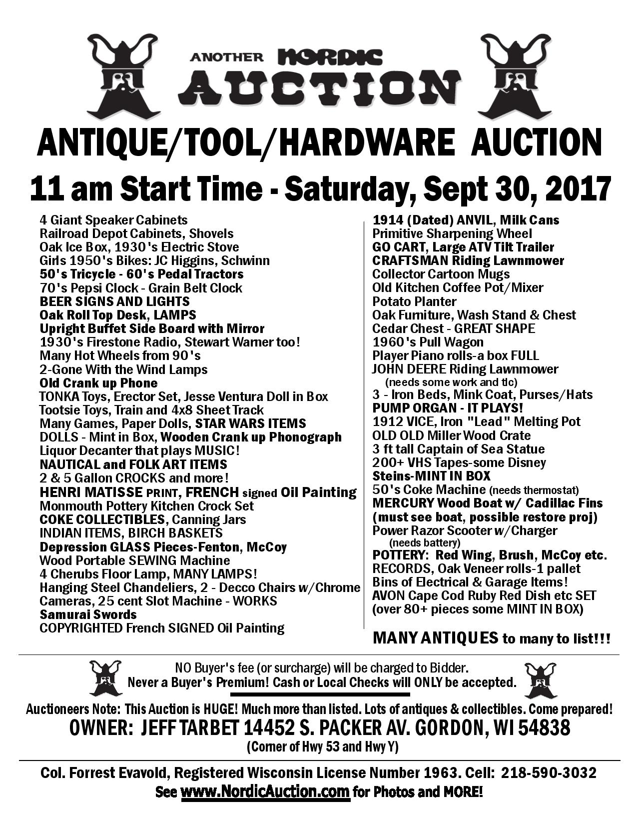 ANTIQUE/TOOL/HARDWARE AUCTION (Sept. 30), Gordon, WI