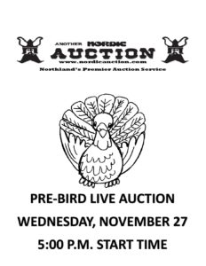 ANNUAL PRE-BIRD AUCTION WEDNESDAY (Nov. 27) @Nordic